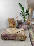 XL Marokkaanse Boujaad poef, kilim achterkant 100x60x25cm_