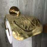 Goudkleurige Marokkaanse toiletrolhouder sierlijk bewerkt_