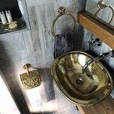 30x38 cm Marokkaanse waskom hammered brass goudkleurig ovaal 30x38cm_