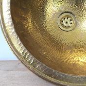 Hammered brass / gehamerde koperen wastafel 40cm