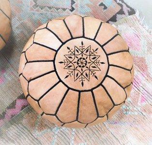 Leren Ronde Marokkaanse poef 50 cm diameter