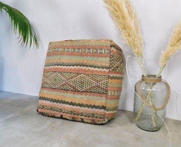 Marokkaanse kilim Boujaad poef 60x60x25cm