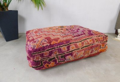 XL Marokkaanse Boujaad poef, kilim achterkant 100x60x25cm