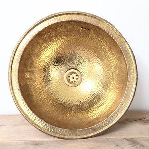 30-35 cm handmade Hammered brass / goudkleurige Marokkaanse waskom