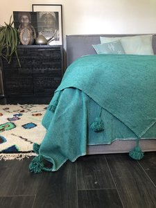 Marokkaans pompom deken 175x285 cm emerald green