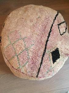 Boujaad poef zongebleekte roze/lila/zand kleuren - diameter ongeveer 60cm - 30 cm hoog
