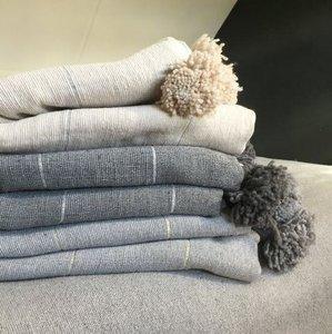 POMPOMP deken katoen blend met zilver of gouddraad