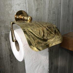 Goudkleurige Marokkaanse toiletrolhouder sierlijk bewerkt