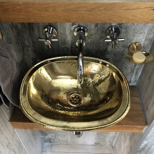 30x38 cm Marokkaanse waskom hammered brass goudkleurig ovaal 30x38cm